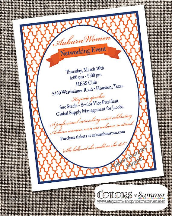 Networking Event Flyer, Orange and Blue, Alumni Flyer, College