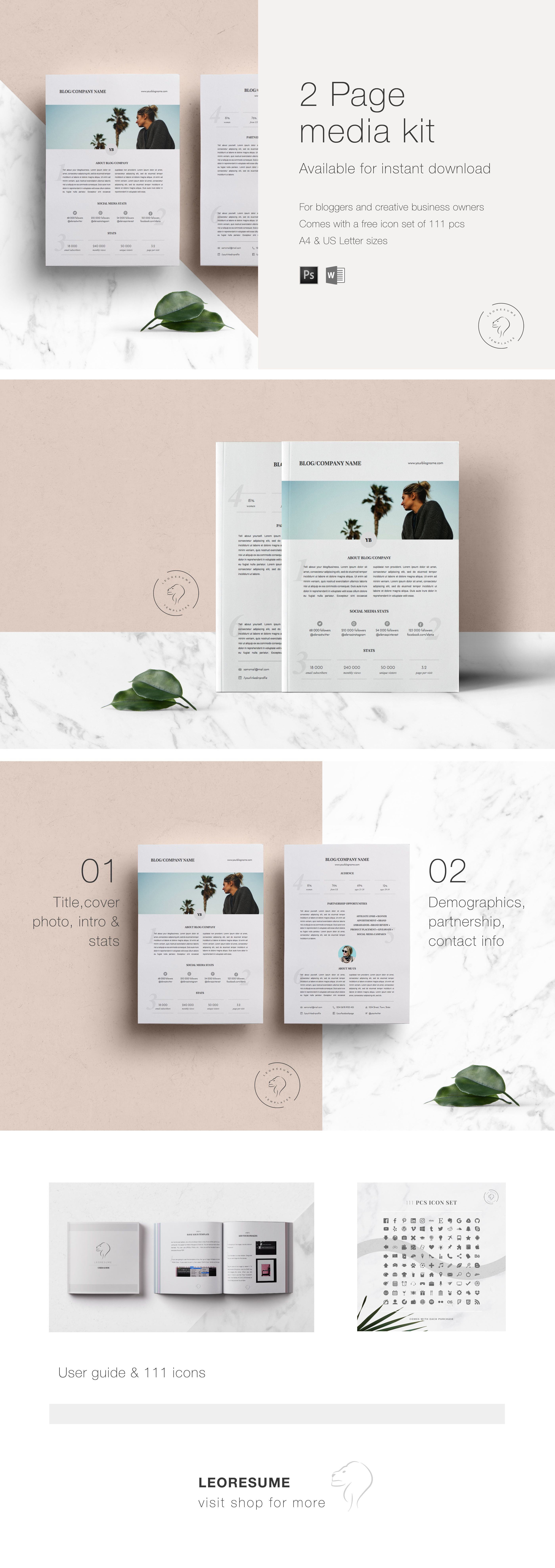 2 Page Media Kit Template for MS Word and Photoshop | Pitch Kit ...