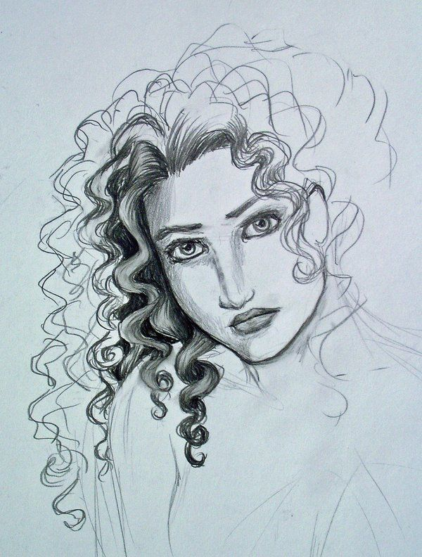 Curly Hair Study By Melibells On Deviantart Curly Hair Drawing Drawings How To Draw Hair