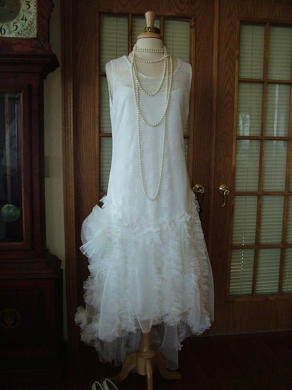Vintage flapper wedding dress.  So pretty.
