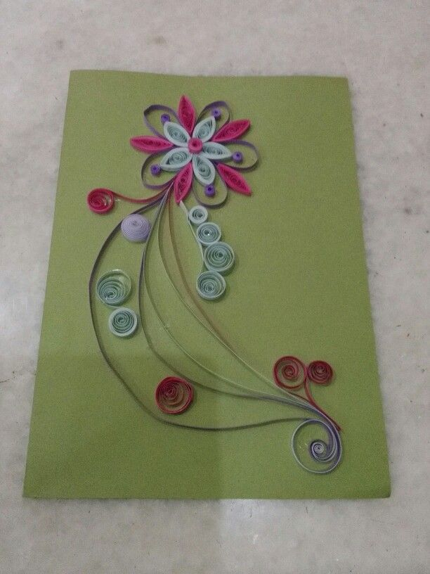 Beautiful  quilling card with 3 mm paper