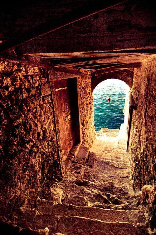 Passageway to the sea, Crete, Greece.