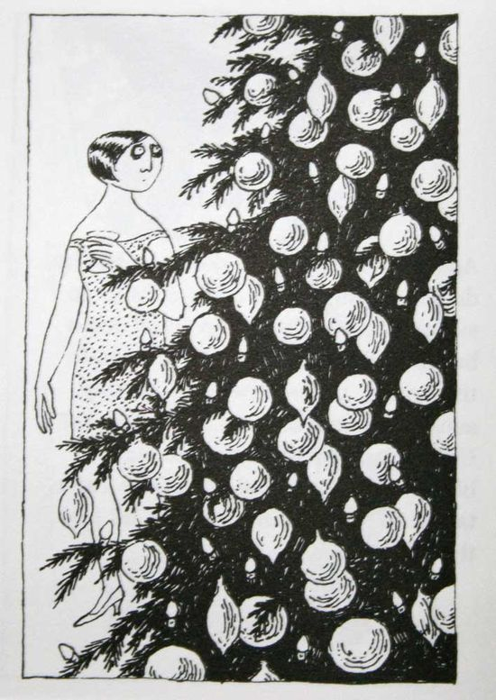 She looks like I feel about decorating for Christmas sometimes... Edward Gorey y los terrores de la Navidad