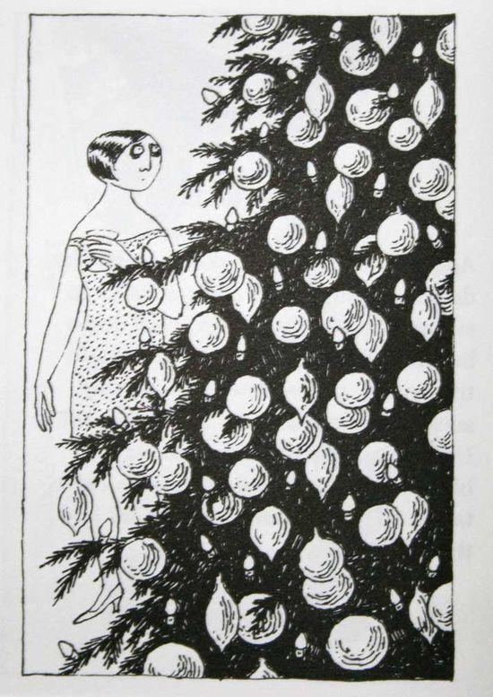 She looks like I feel about decorating for Christmas sometimes... Edward Gorey y los terrores de la Navidad