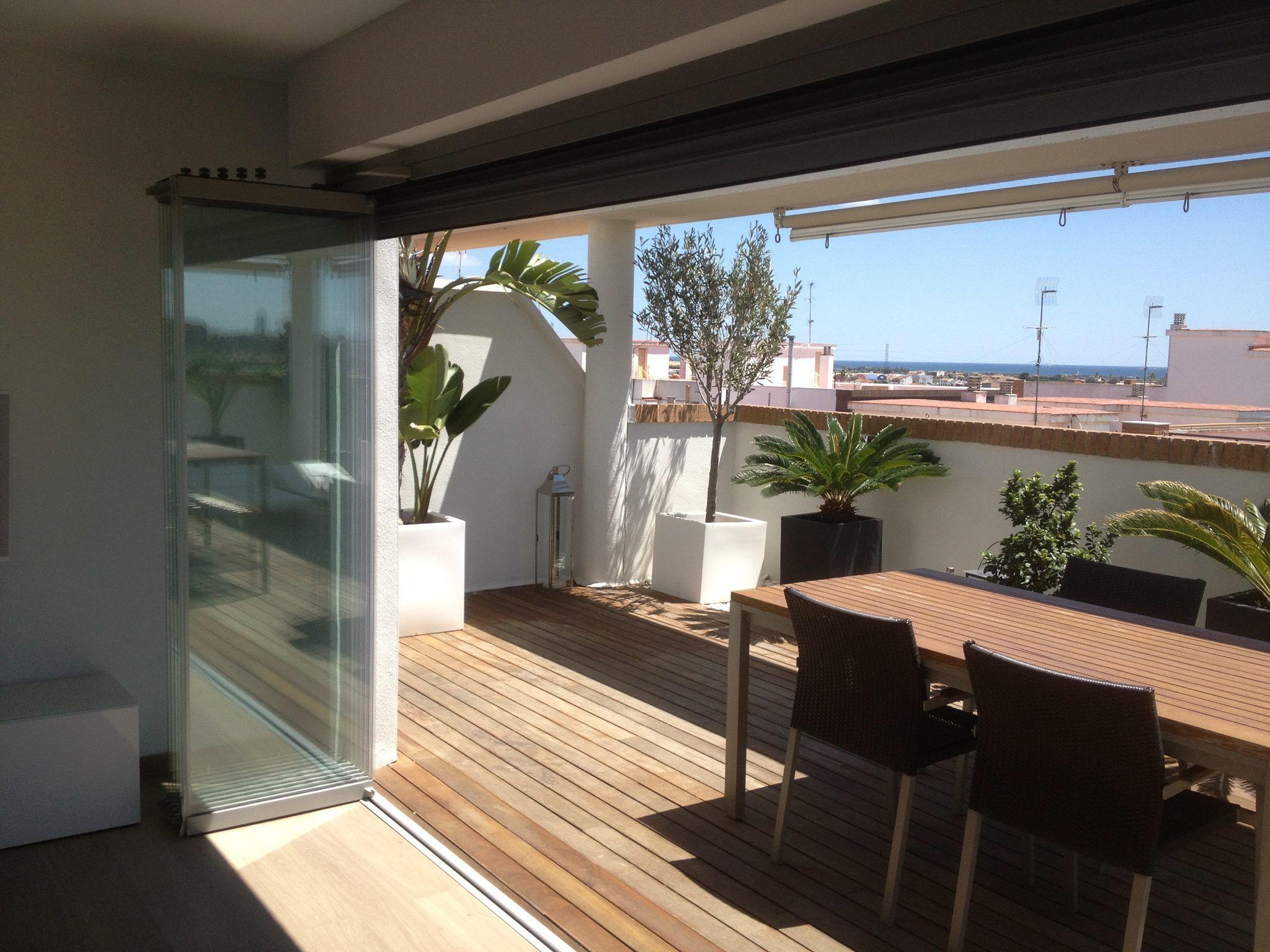 Cerramiento de terraza plegable cortina de cristal old for Cortina cristal terraza
