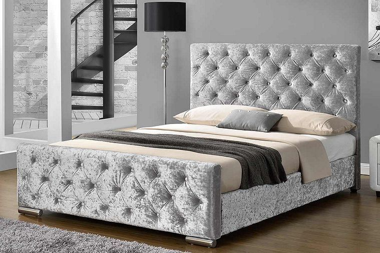 Tesco Direct Buckingham Crushed Velvet Fabric Bed Frame Velvet Bed Frame Upholstered Beds Upholstered Bed Frame
