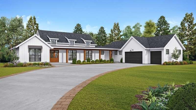 Gorgeous Modern Farm House Layout House Plan 1259 The Bernadino Is A 2495 Sqft Conte Farmhouse Style House Plans Farmhouse Style House Modern Farmhouse Plans