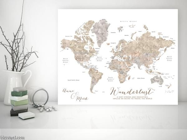 Personalized world map with countries states canvas print or push personalized world map with countries states canvas print or push pin map abey gumiabroncs Images