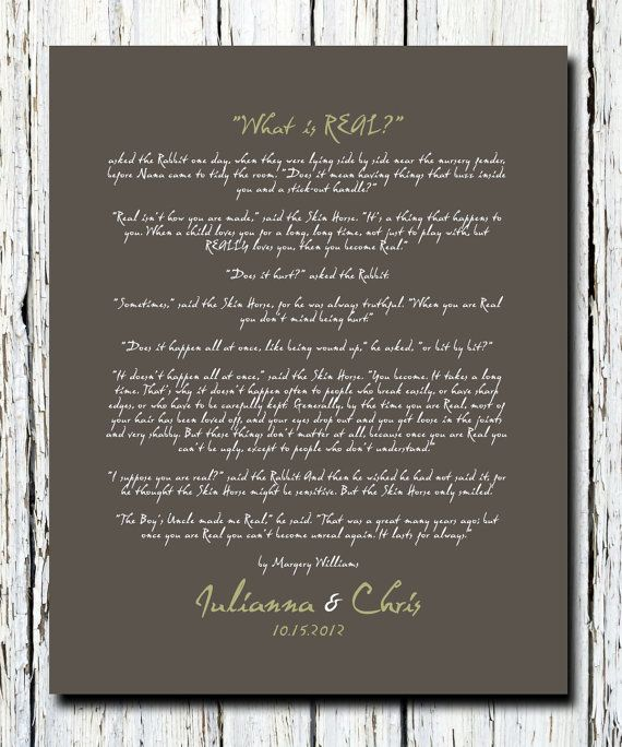 Custom Wedding Keepsake Gift The Velve Rabbit Verse Print Reading Poster 8 X