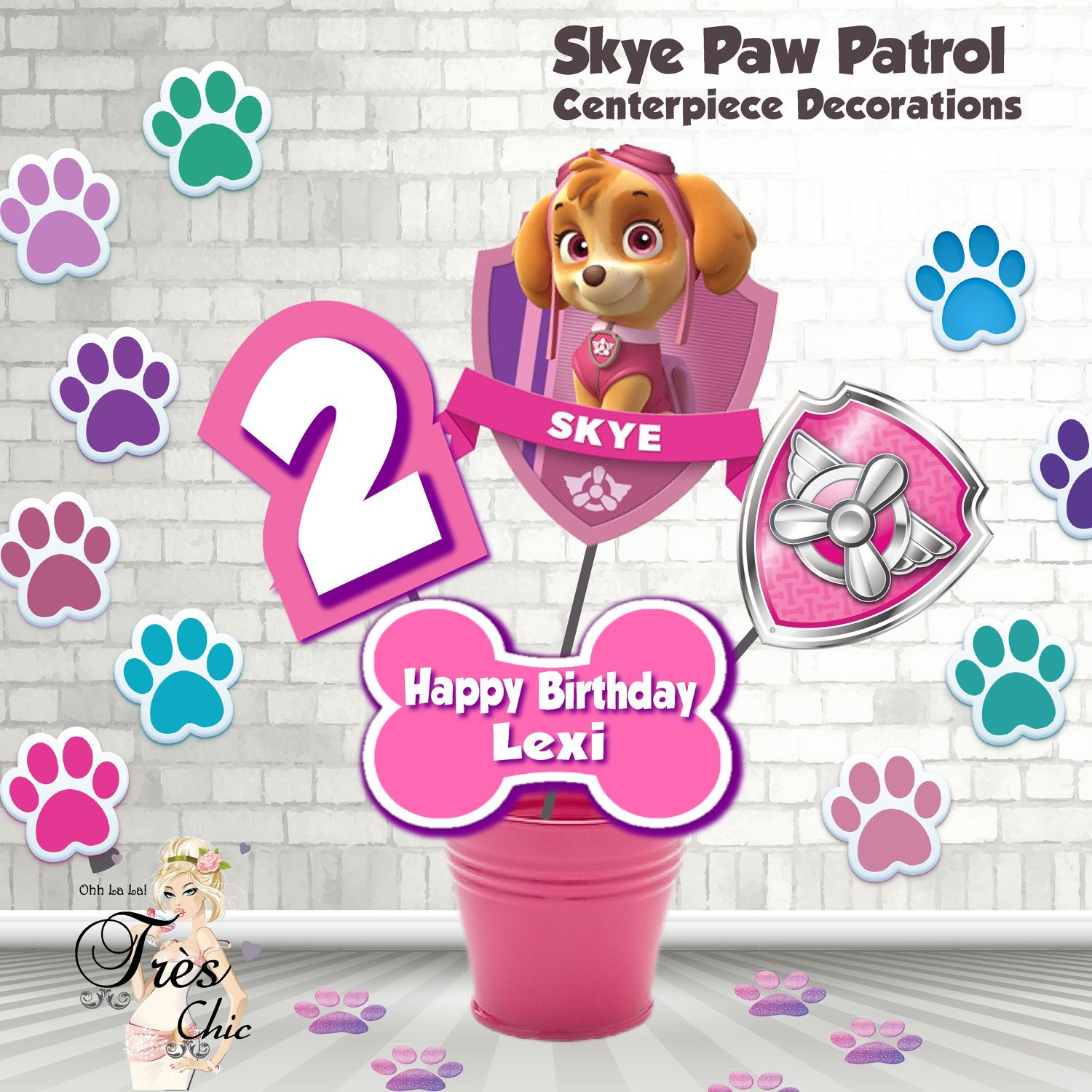 Skye Paw Patrol Birthday Decorations,Skye Large Centerpiece,Skye ...