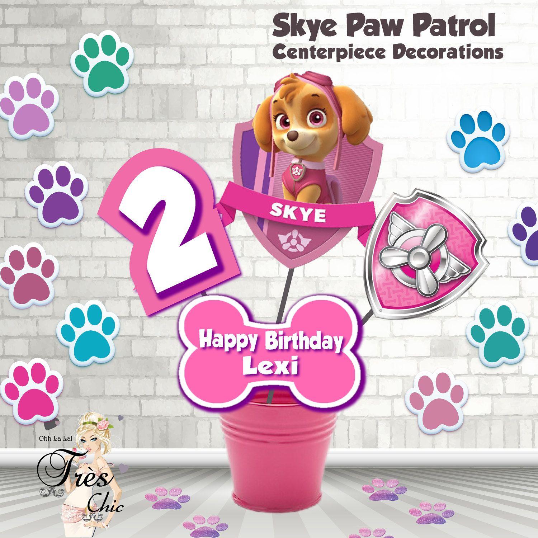 Skye Paw Patrol Birthday DecorationsSkye Large CenterpieceSkye InvitationPaw InvitationSkye Party SuppliesSkye By