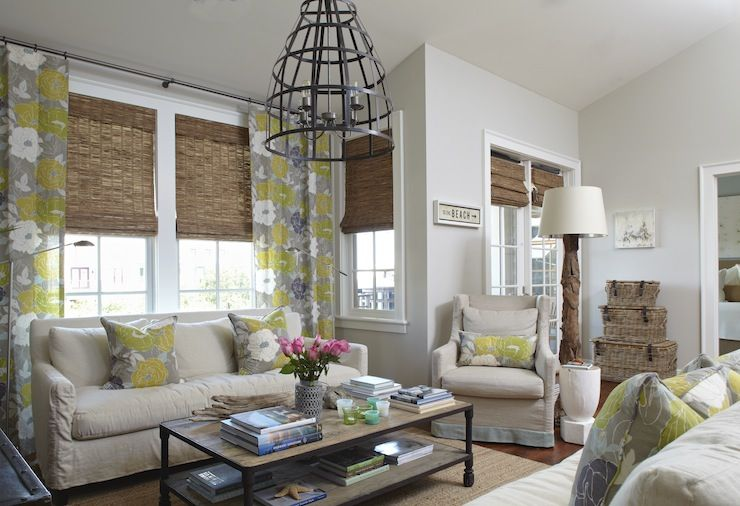Tracery Interiors Beachy Condo With Cool Gray Walls Paint Color And Living Room Windows Covered