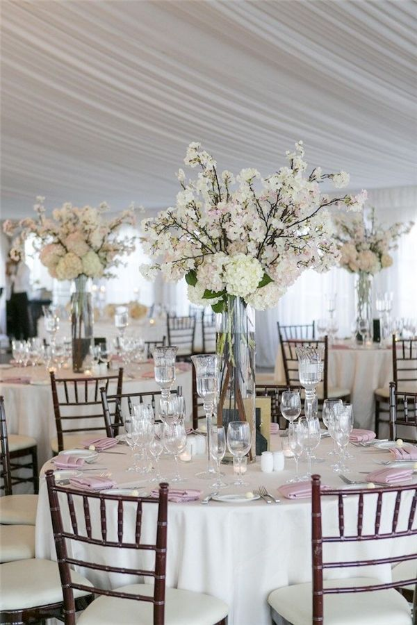 Glam tall floral wedding centerpieces