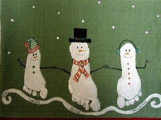 footprint snowman -- love this!
