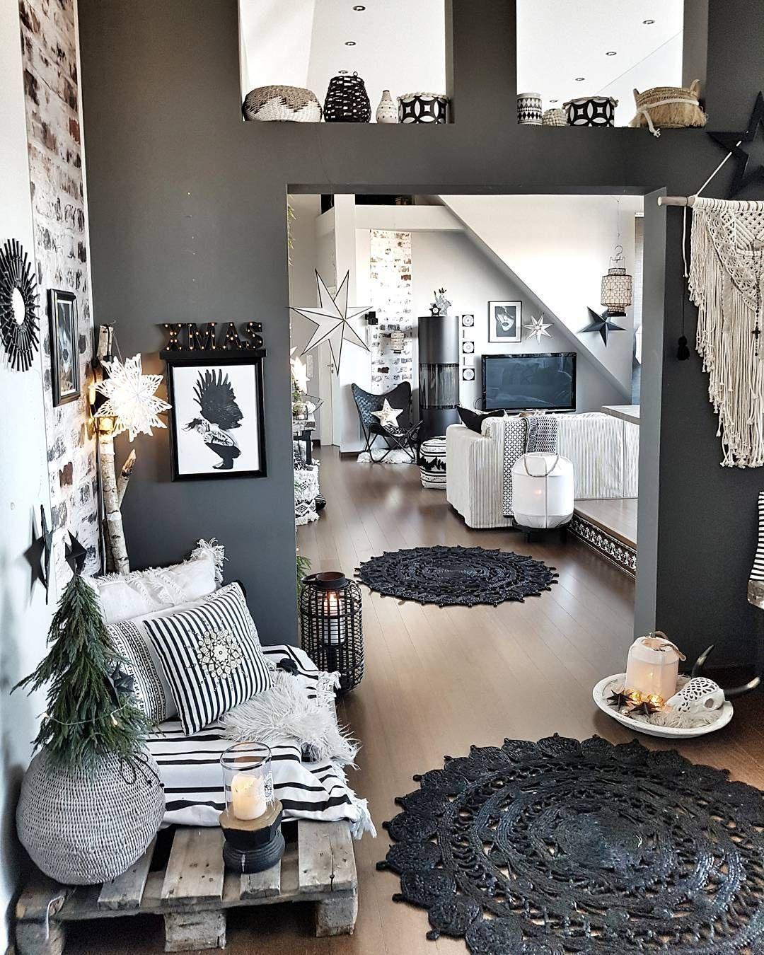 Une déco ardoise et blanche aux objets style bohème livingroom livingroomdecor livingroomideas salon brique bois cocooning chaleureux scandinave