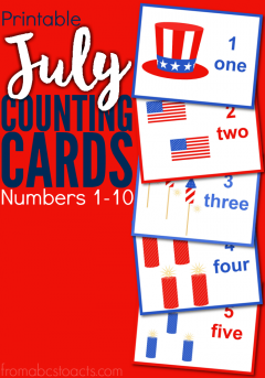 Printable July Counting Cards Numbers 1-10 #patriotsdaycraftsforkids