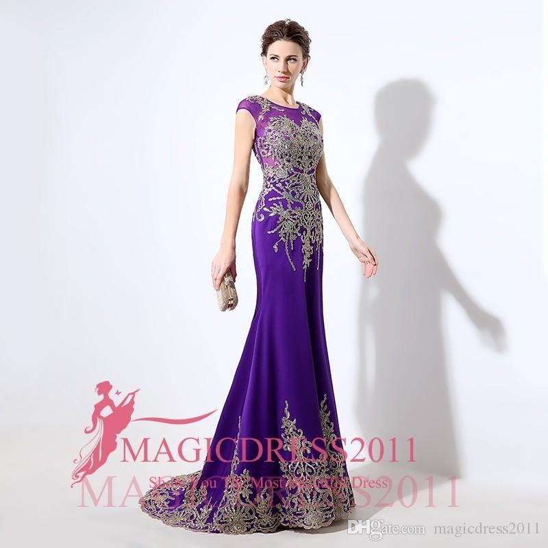 Compre Arabia Árabe Púrpura Largos Vestidos De Noche 2016 Por ...