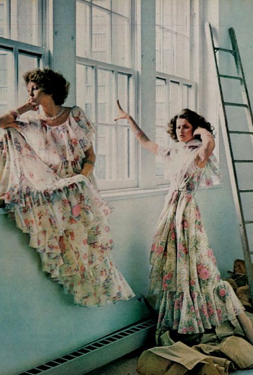 Photo By Deborah Turbeville Vogue 1975 Vintage Fashion Long Floral Gown Maxi Dress White Pink Prairie Color Print Ad Designer Models Magazine Laura