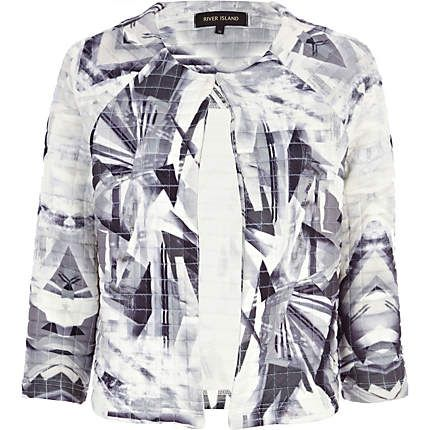 Grey abstract print quilted cocoon jacket, $60.00