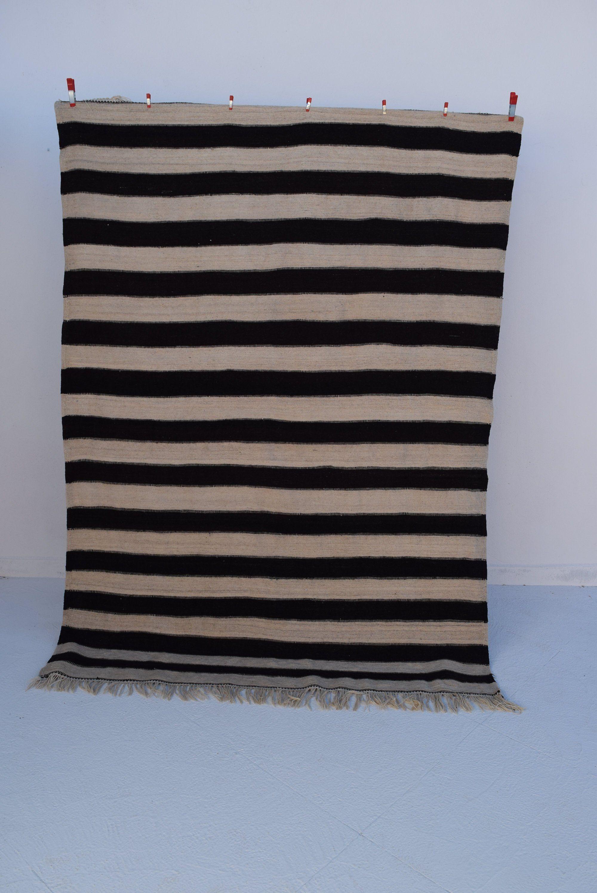 Moroccan Kilim Rug 5x7 Black White Striped 100 Wool Berber