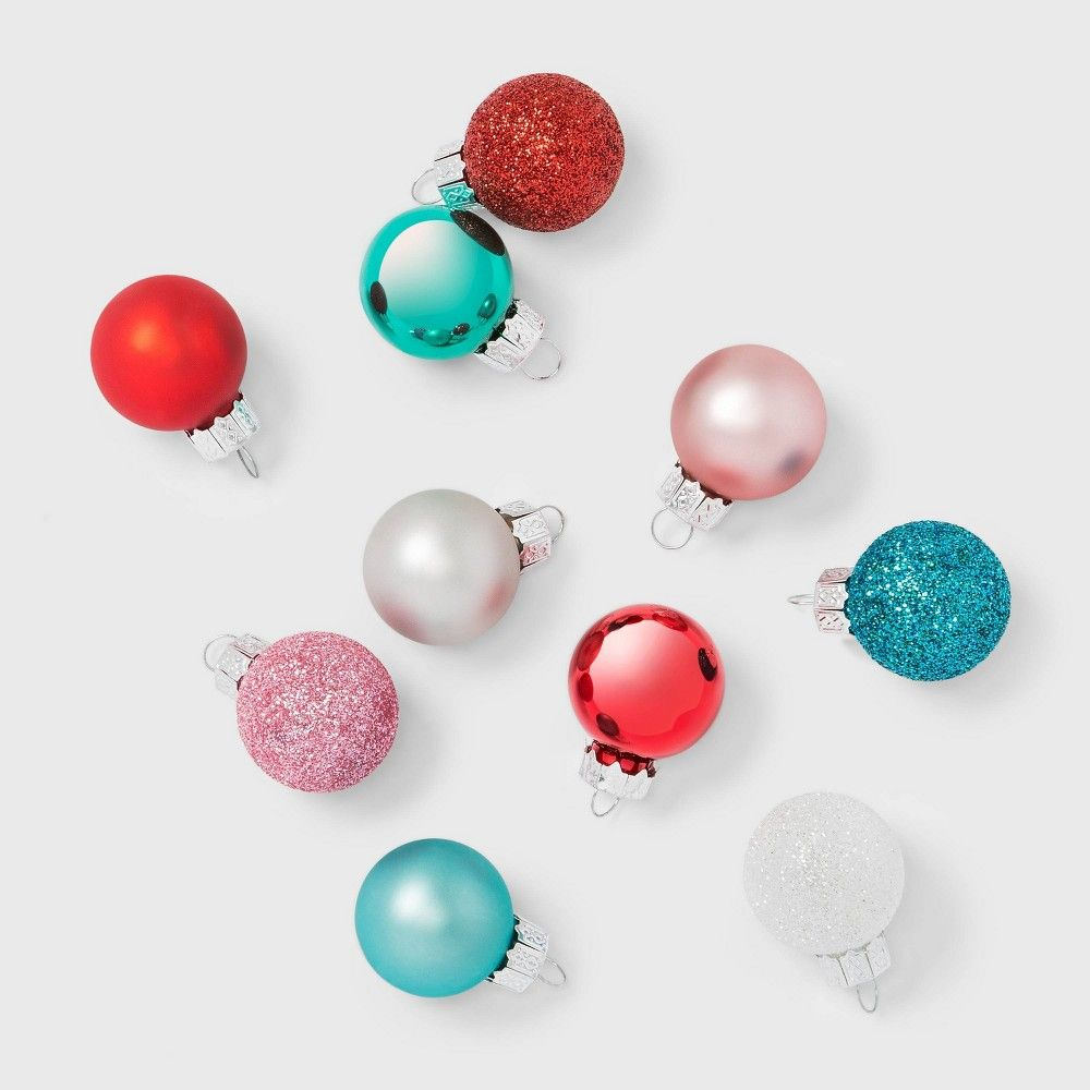 16ct Glass Mini Christmas Ornament Set White Red Pink Green And