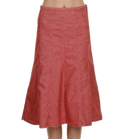 Red Denim Panelled Skirt | Mid Length Denim Skirts | Denim Skirts