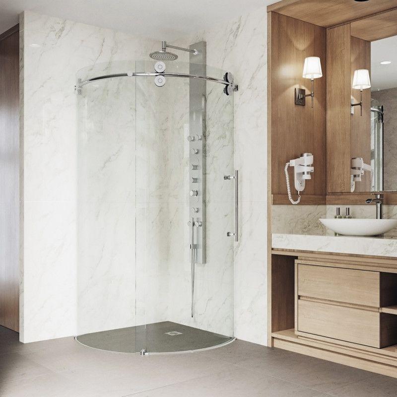With Its Beautifully Designed Curves And Sleek Roller System The Vigo Sanibel Fram Round Shower Enclosure Corner Shower Enclosures Neo Angle Shower Enclosures