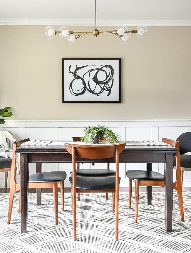 Simple, clean and modern dining room renovation progress! #diningroom #diningroomdecor #mcmfurniture #midcenturymodern #modernchairs #modernlighting #moderndecor #moderndiningroom