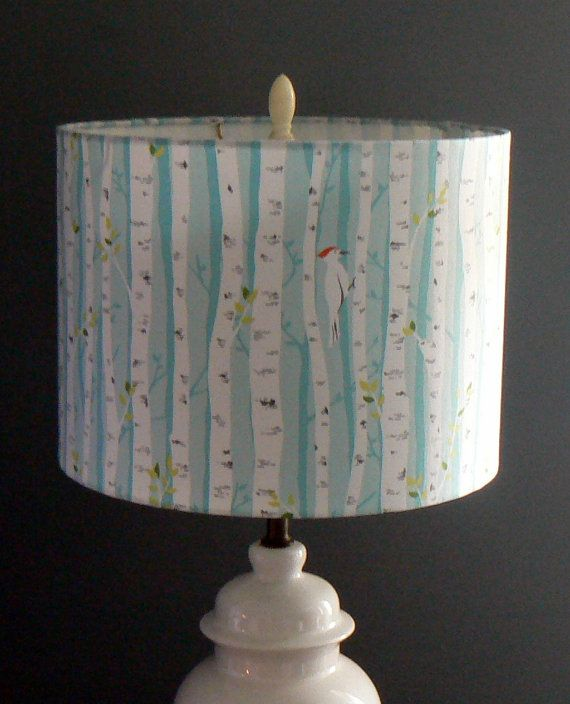 Birch trees drum lamp shade woodpeckers in birch treessky blue birch trees drum lamp shade woodpeckers in birch by liteandshadow mozeypictures Gallery