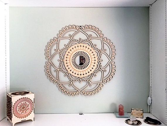 Sacred Geometry Large Mandala With Mirror Wall Decor Spiritual Wall Art Decor Mandala Wall Art Sacred Geometry Mandala Wall Art Mirror Wall Decor