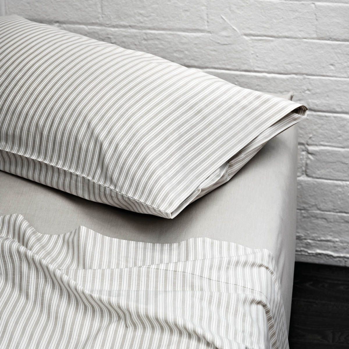 Black and white striped bed sheets - Aura Ticking Stripe Sheets Taupe
