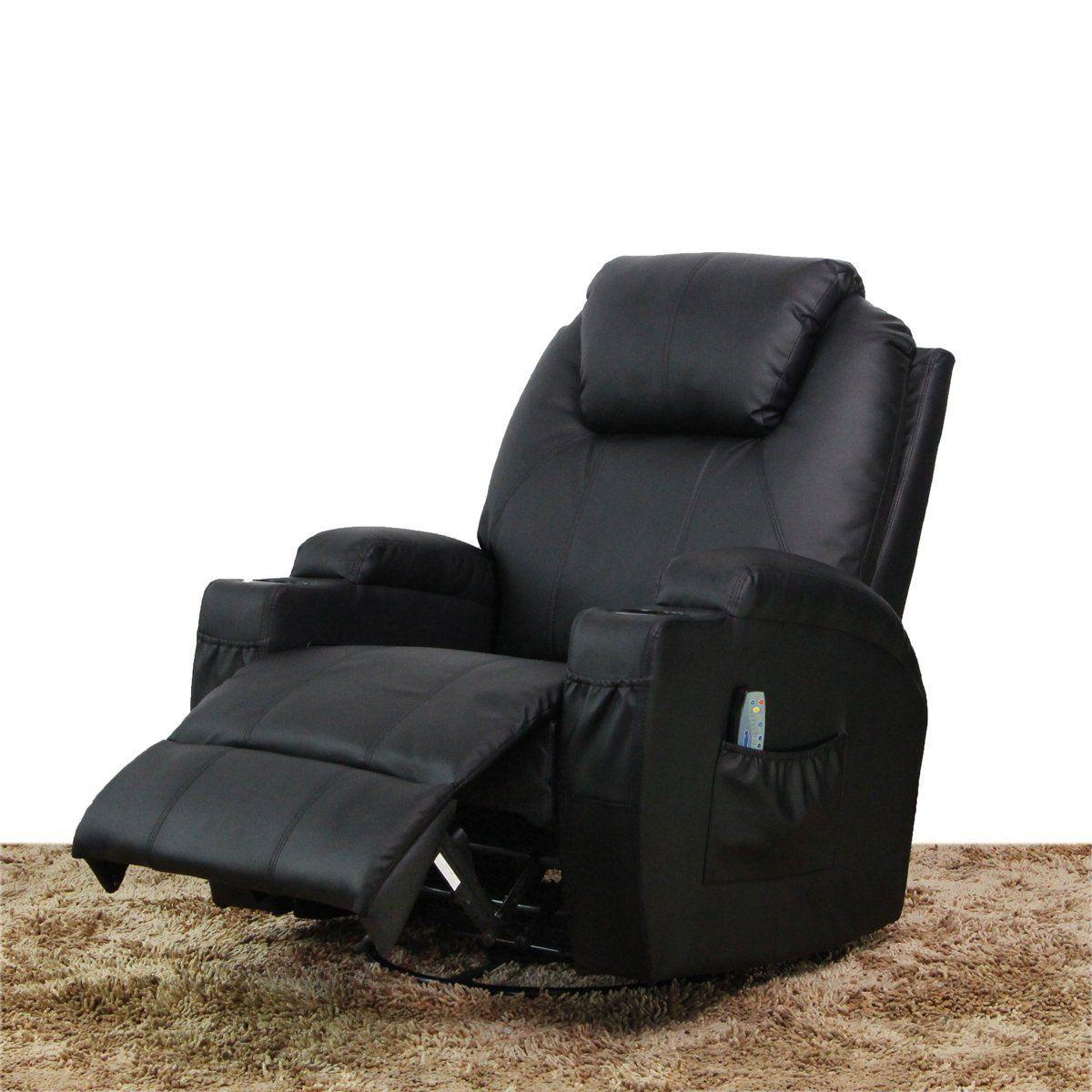 Esright massage recliner chair heated pu leather ergonomic