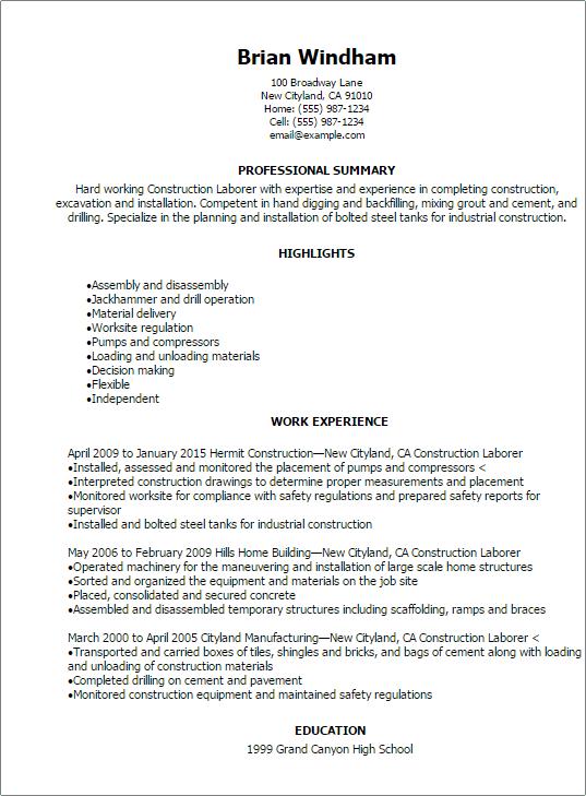 Resume Templates Construction Resumetemplates Resume Templates Sample Resume Professional Resume Samples