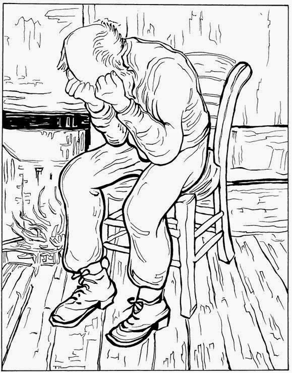 old man in sorrow impressionist painting by vincent van gogh printable coloring book page - Van Gogh Coloring Book
