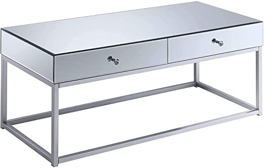Amazon Com Convenience Concepts Reflections Coffee Table Mirror Silver Kitchen Square Mirrored Coffee Table Convenience Concepts Mirrored Coffee Tables
