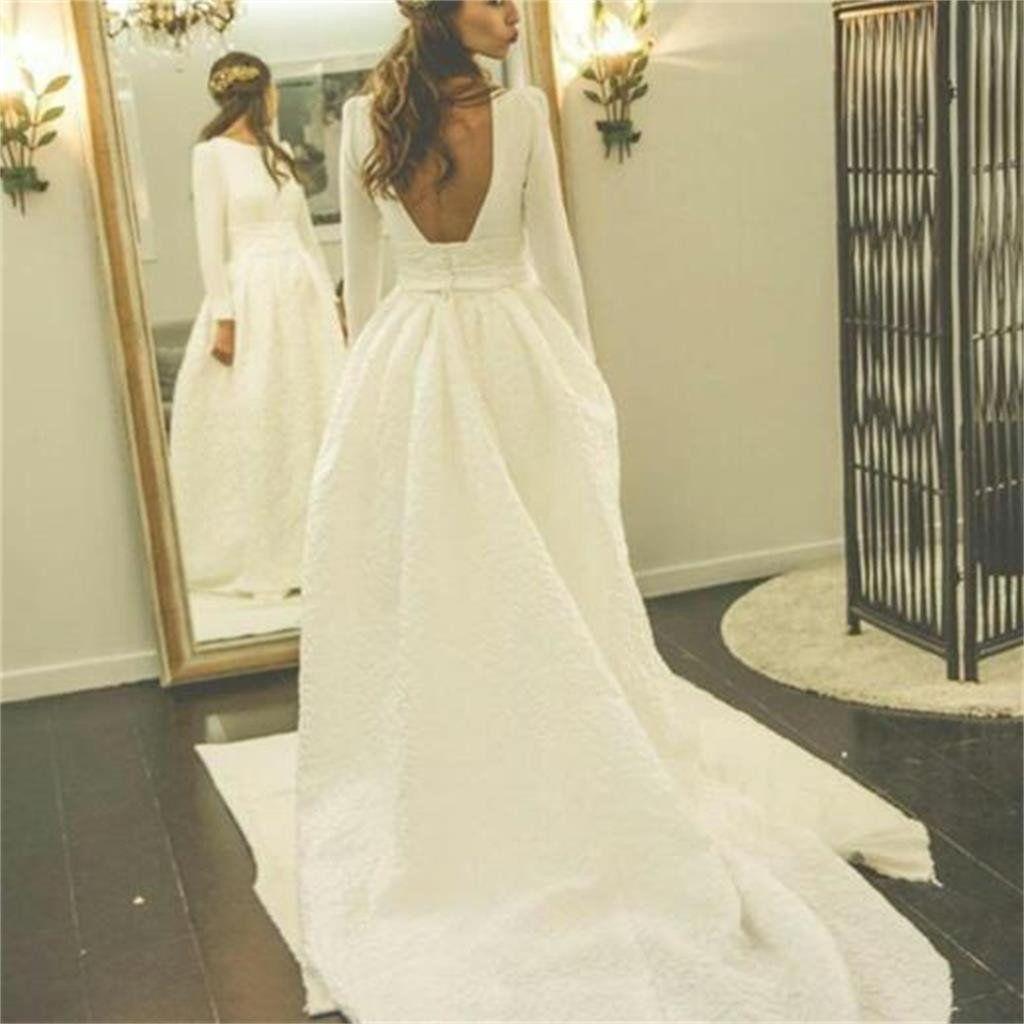 Simple Elegant Open Back Long Sleeve Wedding Dress: Long Sleeves Open Back Simple Free Custom Handmade Wedding