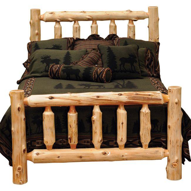 Traditional Log Complete Bed Queen Rustic Bedroom Furniture