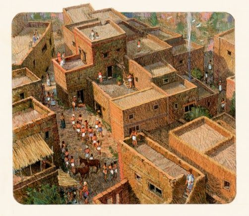 A reconstruction of Akrotiri, on Thera | Ancient Greece ...