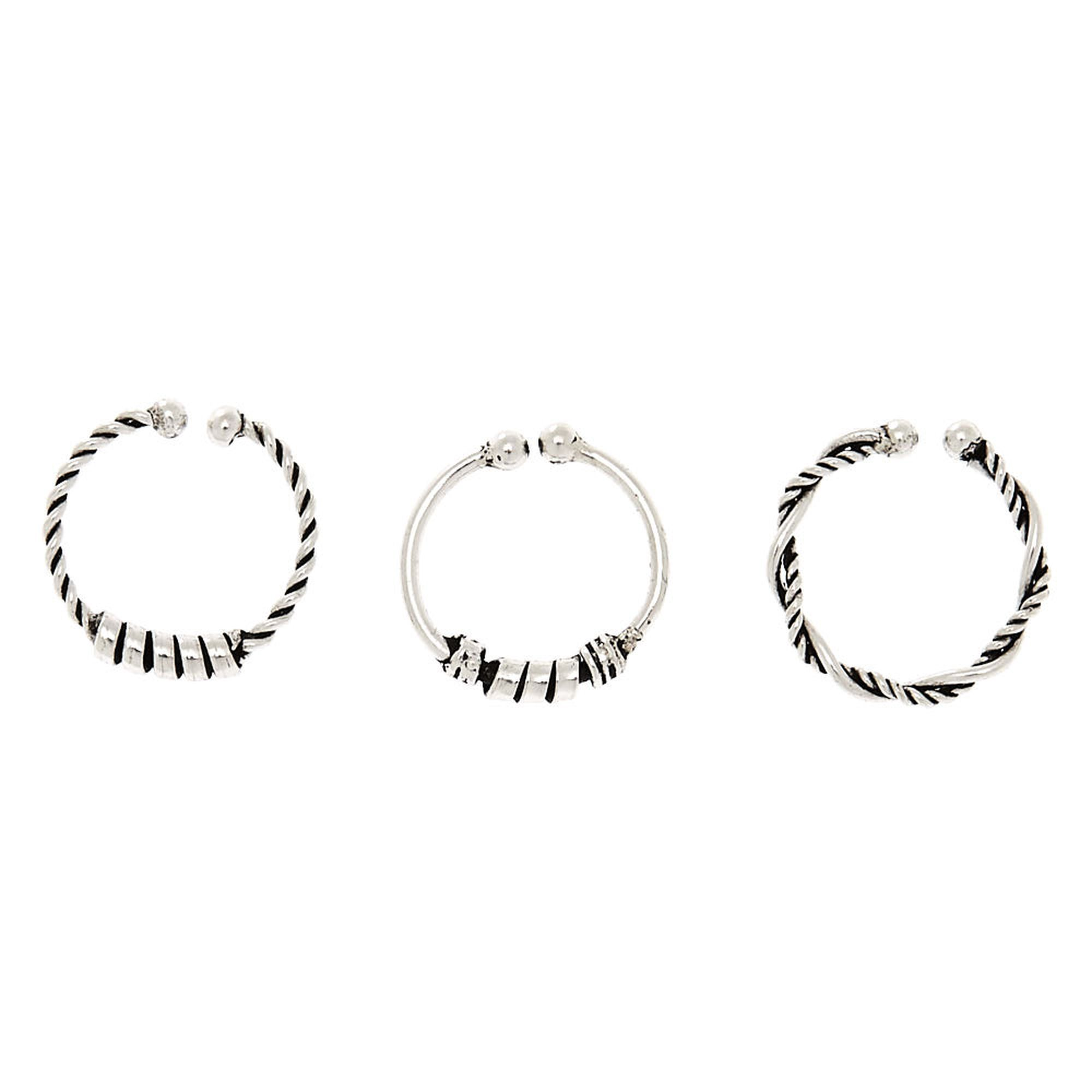 Claire S Sterling Silver Textured Faux Nose Rings 3 Pack In 2019