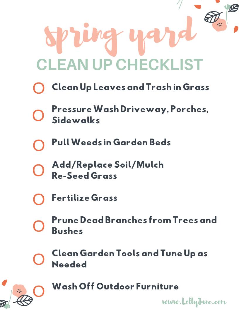 Spring Yard Clean Up Checklist Lolly Jane Spring Cleaning Yard Spring Yard Work Spring Clean Up