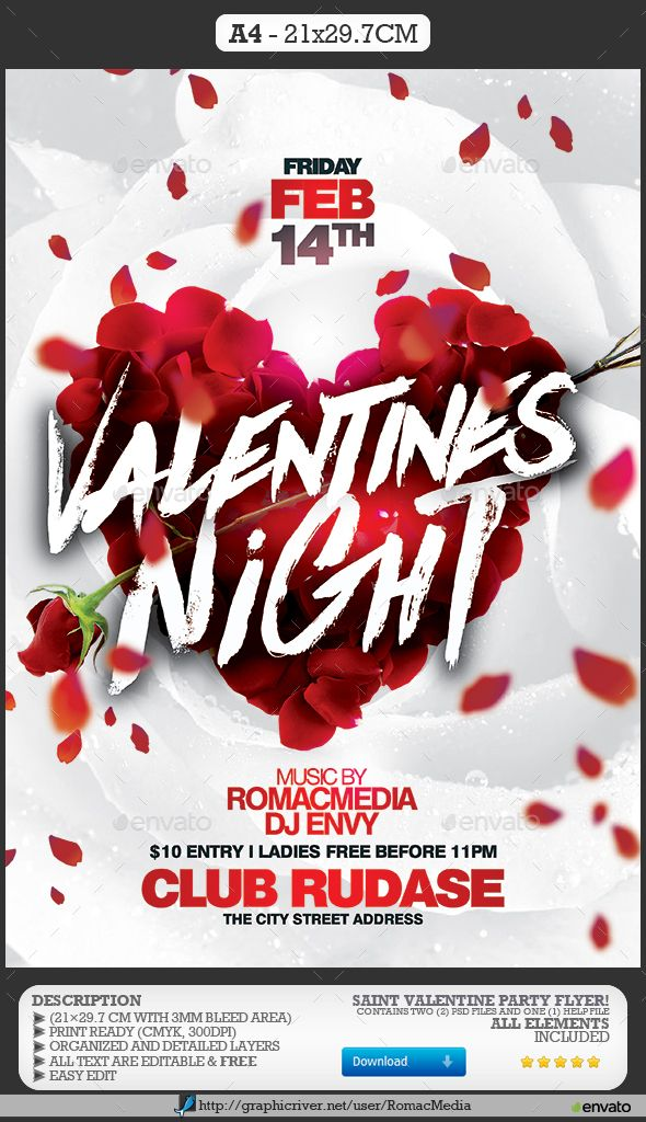Valentines Night Party  Night Parties Flyer Template And Party Flyer