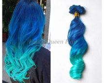Turquoise Blue Ombre Hair Extensions,Two Tone Ombre Indian remy hair extension,Balayage Dip Dye 8A Hair,3 bundles hair weft one set