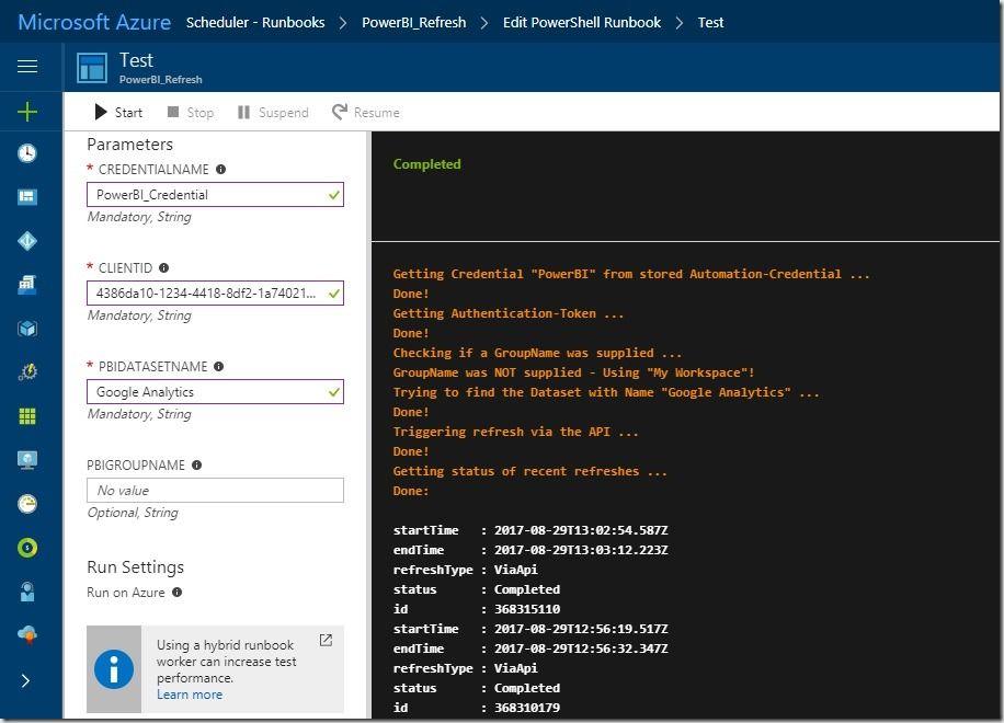 Refresh PowerBI Datasets using PowerShell and Azure