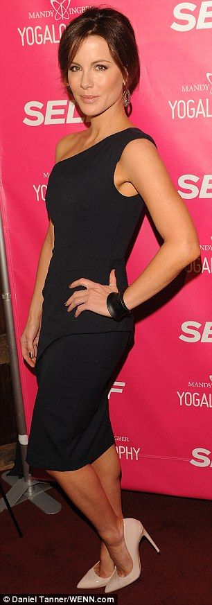 Kate Beckinsale in an elegant one-shouldered little black dress to an event hosted by Self Magazine