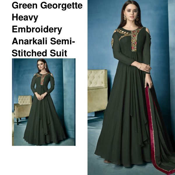 6bcc2b712 Material - Georgette Color - Green  anarkali  kurti  womenswear   womensfashion