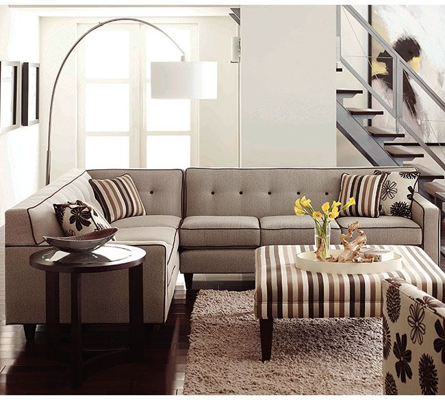 Rowe Furniture: Dorset Corner Sectional With Wooden Legs.
