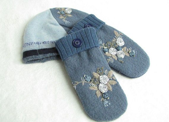 Ivory felted mittens beanie hat with hand embroidery