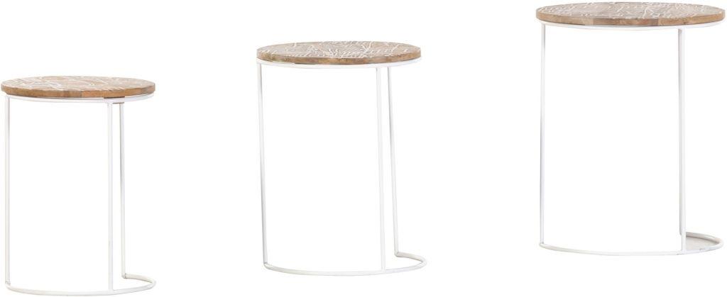 Venice Beistelltische Im 3er Set Rund Weiss Braun Massivholz Metall Beistelltische Tisch Ecktisch