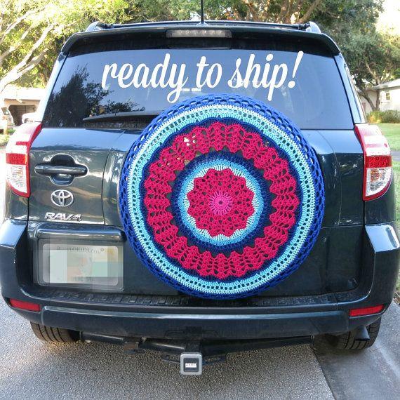 Delightful Magenta And Blues   Crocheted Spare Tire Cover {Perfect For RV, Honda CRV,  Jeep, Toyota Rav4}