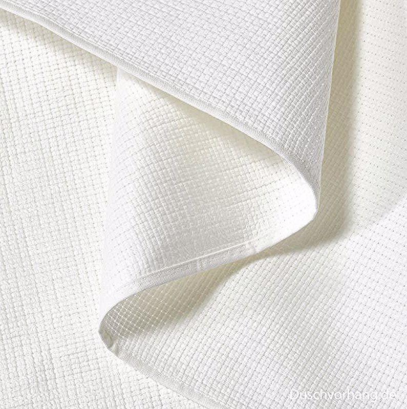 Duschvorhang Textil 120x200 Piquee Weiss Fabric Shower Curtains